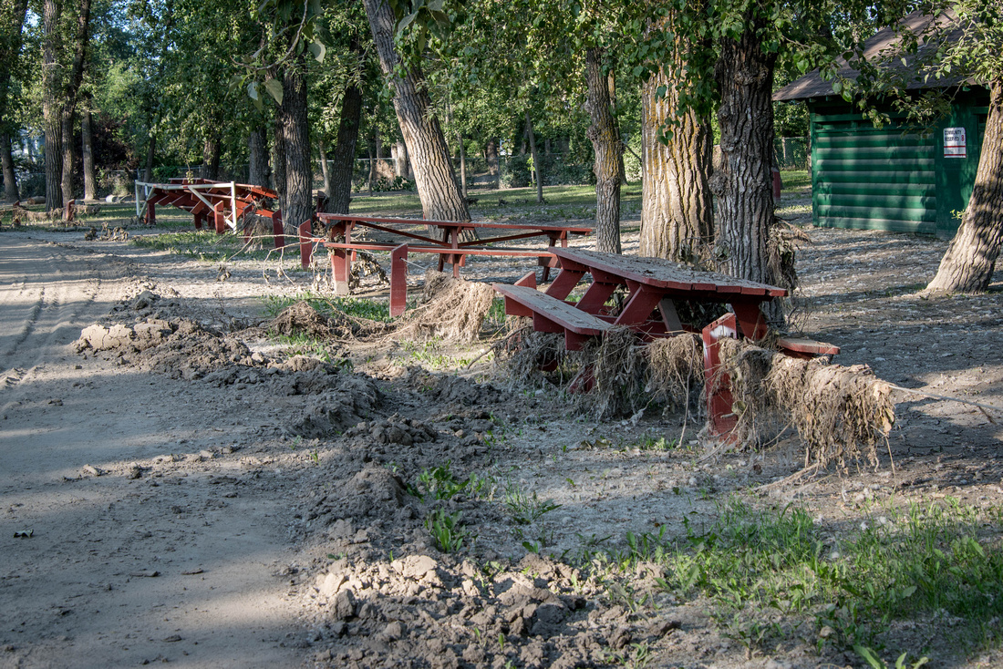 rearranging the picnic tables