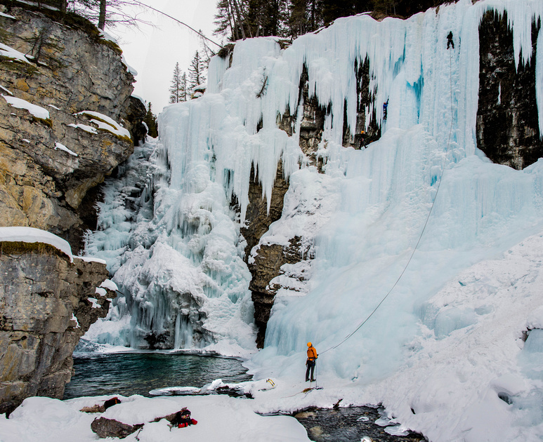 Ice climbers on the Upper Falls of Johnston Canyon